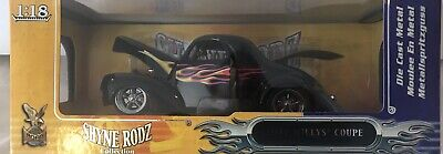 VINTAGE RARE 1941 Willys Coupe Custom Street Rod Shyne Black with Flames 1:18
