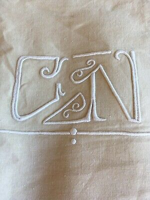 Sheet GN / CN Monogram PURE Linen Stamped Vintage UNUSED French   214 cm Width