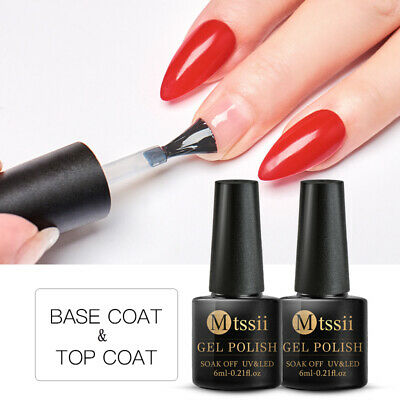 MTSSII 6ml Base Top Coat Nail Soak Off Gel Polish Varnish Manicure UV LED Lamp