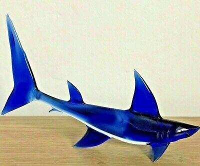 Superb Vintage Cobalt Blue Murano Glass Animal Fish Shark Perfect Condition