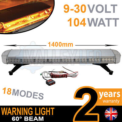 104w LED Warning Light Bar Beacon Amber Recovery Strobe 12v 24v Fixed 1400mm 5FT