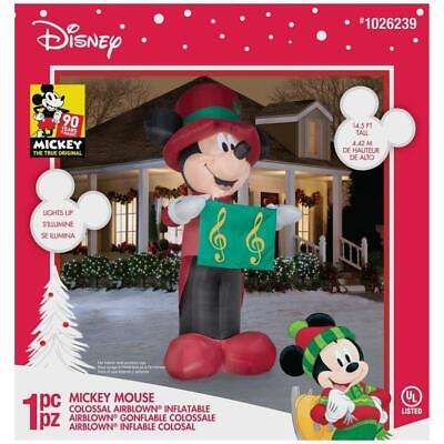 14.5 Colossal Disney Airblown Christmas Inflatable Mickey Mouse Caroler