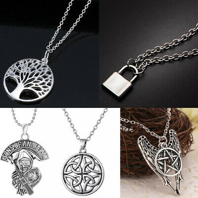 Silver Chain Dragon/Skull/Padlock Charm Pendant Necklace Womens Mens Gifts
