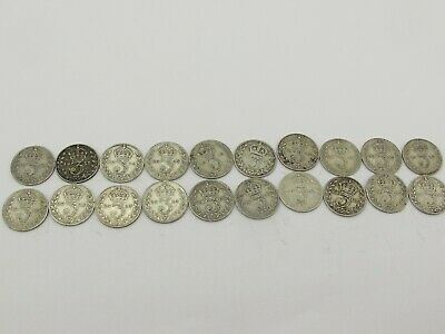 20 x Antique Sterling Silver 925 Three Pence Coins Some WW1 Dates