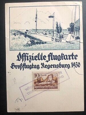 1930 Regensburg Germany Advertising Postcard cover To Munich Air Club Exhibition
