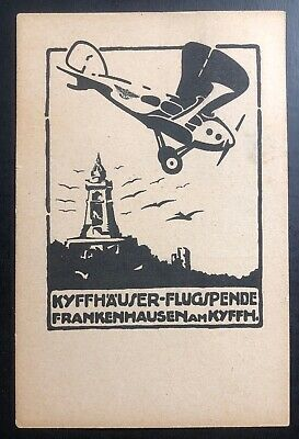 1921 Germany Advertising Postcard cover Kyffhäuser Flight Donation Early Airmail