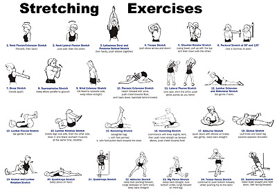 Stretching Workout Excercise Yoga Poster | A4 A3 & A3+ Sizes Laminated HD Print