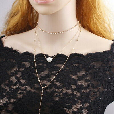 Fashion Women Multilayer Simple Pearl Clavicle Choker Necklace Chain Jewely