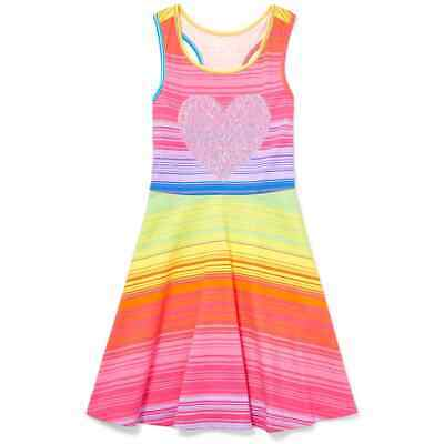 NWT The Childrens Place Girls Flip Sequin Heart Rainbow Striped Dress Valentines