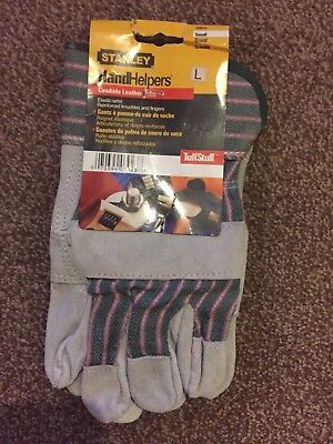 Stanley Handhelpers Gloves DIY New With Tag TuffStuff Sz L CowHide Leather Palm