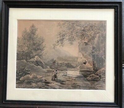 Antique 18th Century Continental School Framed Ink & Wash On Laid Paper. French