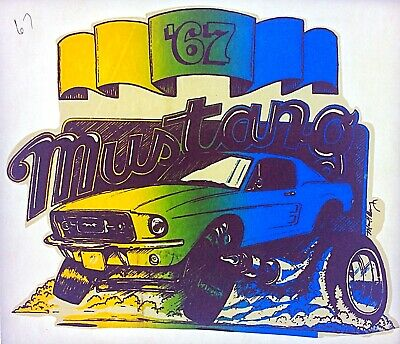 Original Vintage 1967 Ford Mustang Iron On Transfer U.S. Muscle Car