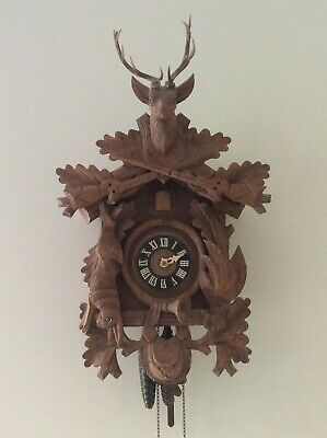 Vintage Wooden Stag Cuckoo Clock  LARGE West - German Regula Ship Worldwide