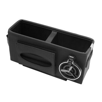 Car Seat Gap Phone Drink Cup Tissue Holder Box Storage Pocket Organizer Black