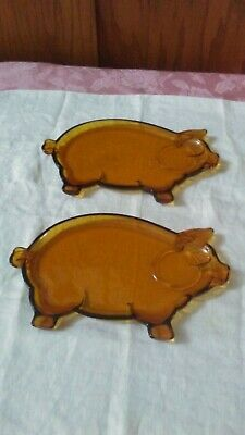 2 Vintage Indiana Glass Amber Tiara Pig Glass Snack Plates Only