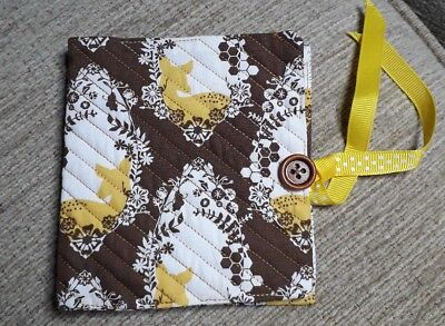 Quilted Handmade Needle Book Cameo Deer Brown Fabric wooden button