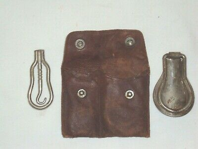 Set Antique Folding Pocket Lace Pullers Shoe Horn Early 1900's In Leather Pouch