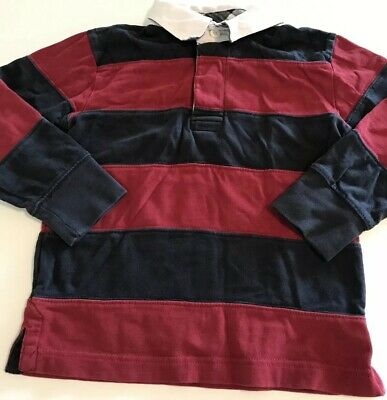 Gymboree Boys Long Sleeve Thick Polo Shirt Red Blue Stripes Size 4