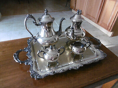 Sheridan Silver on Copper Tea Coffee Pot Set, Silverplate Footed Serving Tray
