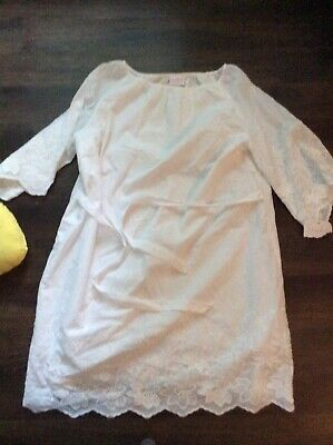 Isabel Maternity Womens Dress Small White Embroidered Flutter Sleeve Tie New Nwt