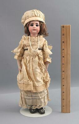 13inch Antique French or German Bisque Head Solid-Dome Doll Kid-Leather Body NR