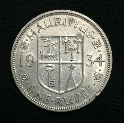 Mauritius 1934 Silver One Rupee EF