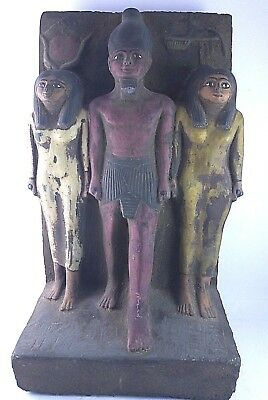 RARE ANCIENT EGYPTIAN ANTIQUE ISIS and OSIRIS and NEPHTHYS Statue 1221-1120 BC