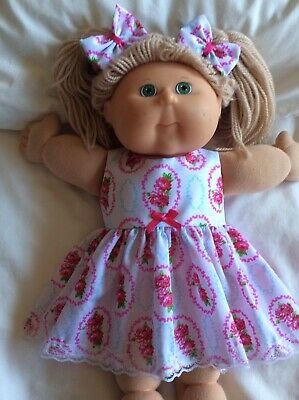"DOLLS CLOTHES - DRESS & BOWS to fit 16"" CABBAGE PATCH ~ Roses"