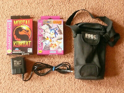 SEGA GAME GEAR ITEMS - (2) Games - Carrying Case - AC Adapter