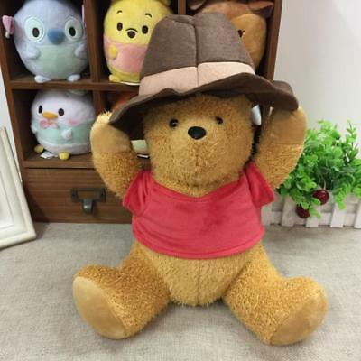 Disney Christopher Robin Plush Doll Winnie The Pooh with Hat 35cm Japan