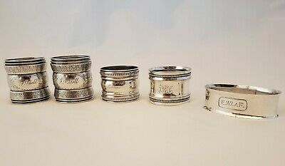 Antique Sterling Silver Napkin Rings - 91.9 gm - Lot of 5 All Diff & Monogrammed