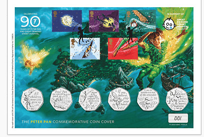 2019 Isle of Man Peter Pan 50p Coin Set Coin Cover