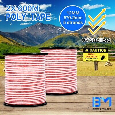 Electric 2PCS 600M Roll Polytape Stainless Steel Stabilized Fence Poly Tape Wire