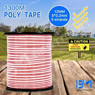 Electric 1300M Fence Poly Tape Polytape Roll Insulator Energiser Stainless Steel