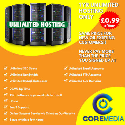 Unlimited Web Hosting | 1 Year | SSD | cPanel | 99.9% Up Time | £0.99 a Year