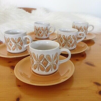 5x Vintage 1960s 1970s Mid Century Cups Saucers | Orange & White | Made in Japan