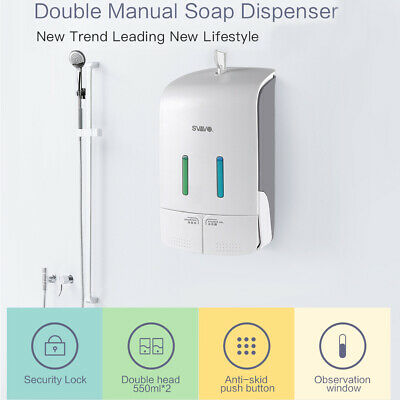 SVAVO 1000mL Manual Soap Dispenser Wall Mount Liquid Lotion Shampoo Bathroom New