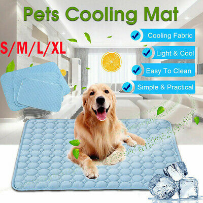 Pet Cooling Mat Dog Cat Chilly Non-Toxic Summer Cool Indoor Bed Pad Cushion NEW