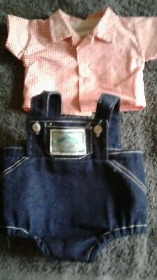 Genuine Cabbage Patch Kids Preemie Denim Romper and Red Checked Shirt
