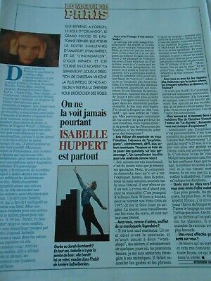 Clipping Coupure de Presse 1994  Isabelle Huppert