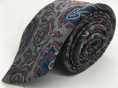 MENS ST MICHAEL M&S TIE PINK BLUE SILVER PAISLEY VINTAGE 80s  100% POLYESTER