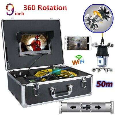 "9""LCD WIFI 50M Video Camera Drain Sewer Pipeline Industrial System HD CCD 800TVL"