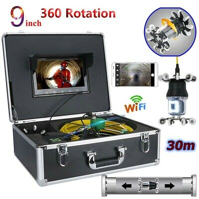 "9""LCD WIFI 30M Video Camera Drain Sewer Pipeline Industrial System HD CCD 800TVL"