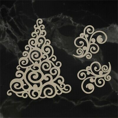 Couture Creations Naughty Or Nice Chipboard 3/pkg-swirling Christmas Tree