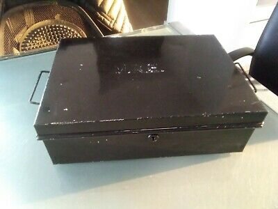 Antique Old Industrial Metal Deed Document Box Storage Display Money Box Prop