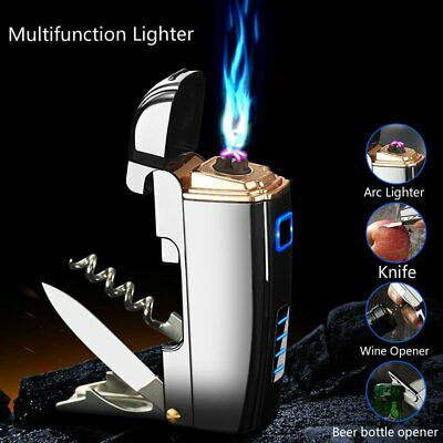 Creative Multifunction opener USB Charging Lighter Arc Metal Electric Lighter