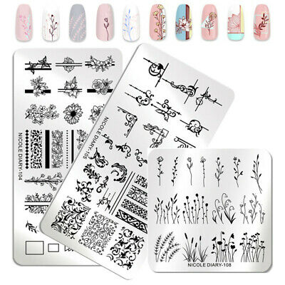3Pcs NICOLE DIARY Nail Stamping Plates Flower Grass Geometry Nail Art Templates