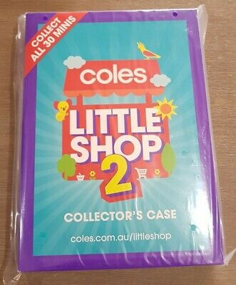 Coles 2 little shop mini collectable collector CASE ONLY FOLDER PLASTIC UNOPENED