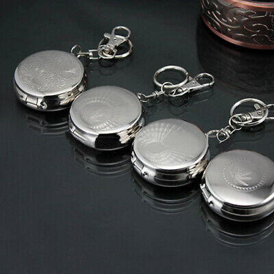 AU_ Stainless Steel Portable Round Cigarette Ashtray Mini Size With Keychain NEW