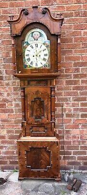 Antique Mahogany ROLLING MOON PHASE Longcase Grandfather Clock DAVIES CHESTER